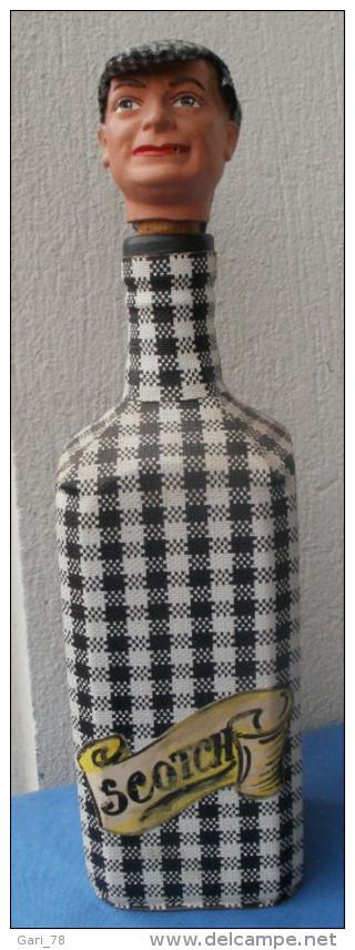 Bouteille Vide SCOTCH Vintage,  Tête D'homme - Whisky