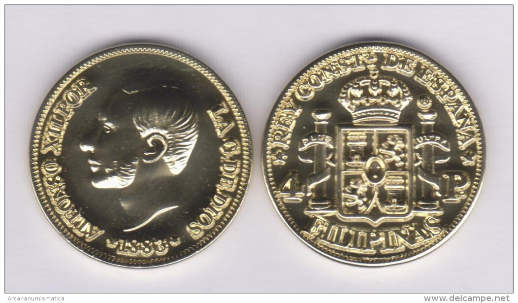 SPAIN / ALFONSO XII  FILIPINAS (MANILA)  4 PESOS  1.883  ORO/GOLD  KM#151  SC/UNC  T-DL-11.071 COPY U.K. - Provincial Currencies