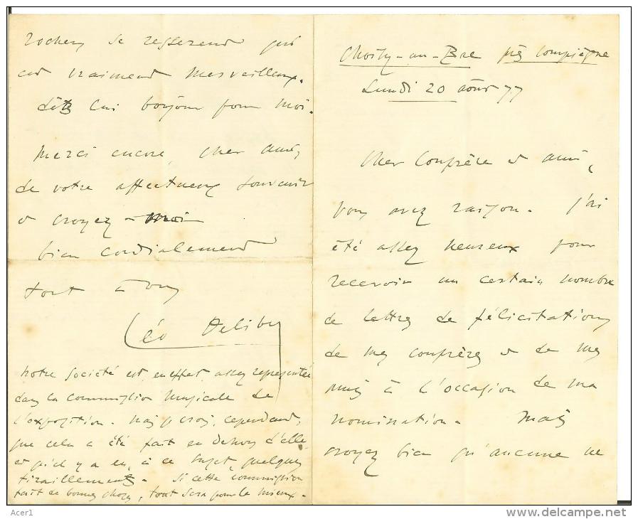 LEO DELIBES (1836-1891): 2 Lettres De 1877 De 3 Et 4 Pages Manuscrites, Jury Du Prix De Rome... - Autogramme & Autographen