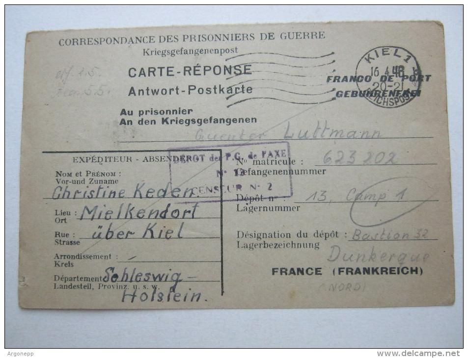 1948 , Camp Dunkerque      , Prisonner De Guerre, Lettre    Allemagne - Marcophilie (Lettres)