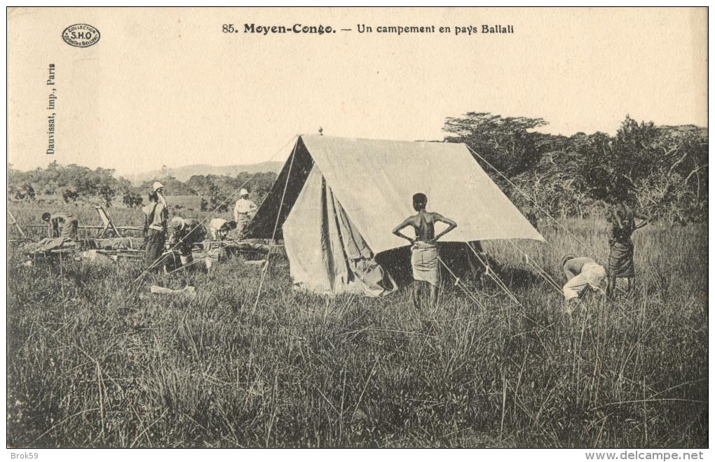 MOYEN CONGO - UN CAMPEMENT AU PAYS BALLALI  ( PRIX FIXE !! ) - Congo Français - Autres