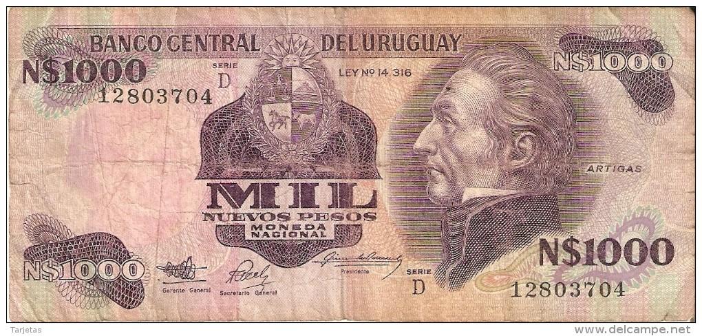 BILLETE DE URUGUAY DE 1000 NUEVOS PESOS  (BANKNOTE) - Uruguay