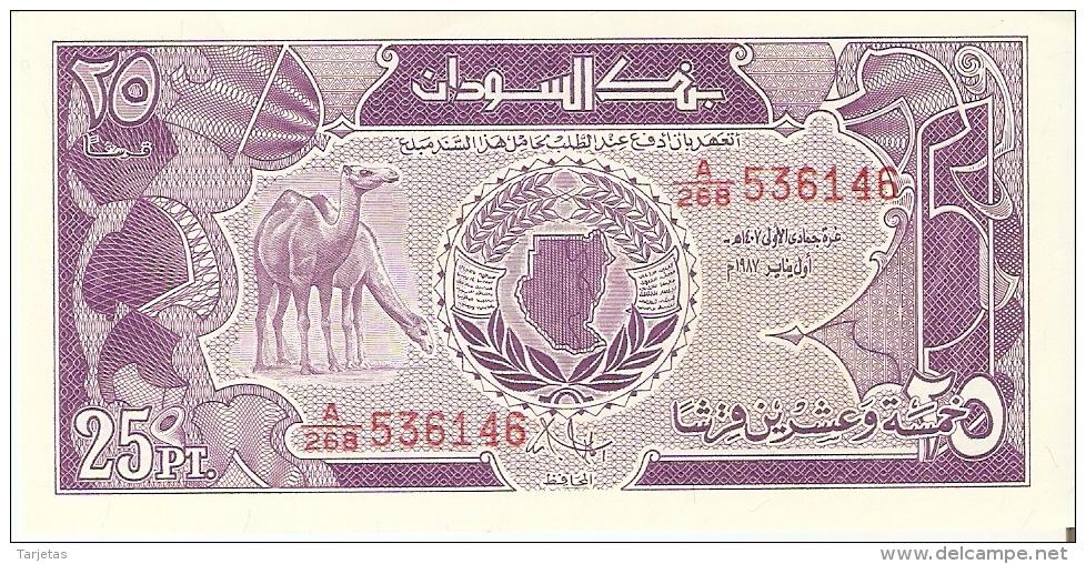 BILLETE DE SUDAN DE 25 PIASTRES DEL AÑO 1987 SIN CIRCULAR-UNCIRCULATED (BANKNOTE) CAMELLO-CAMEL - Sudan