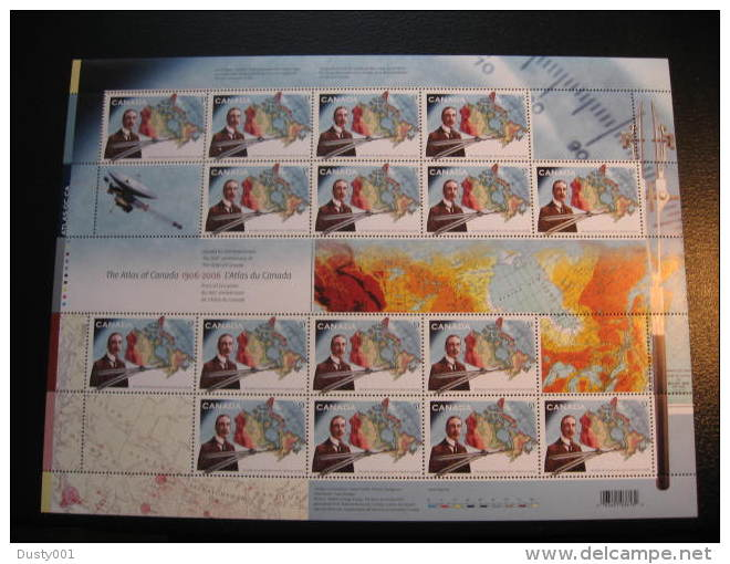 F06-22  SC#  2160  Feuille De 16,  Centenaire Atlas Du Canada Centenary, Sheet Of 16;   2006 - Full Sheets & Multiples