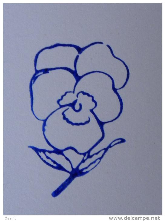 Ancien Tampon Scolaire Bois Fleur PENSEE Ecole French Antique Rubber Flower - Scrapbooking