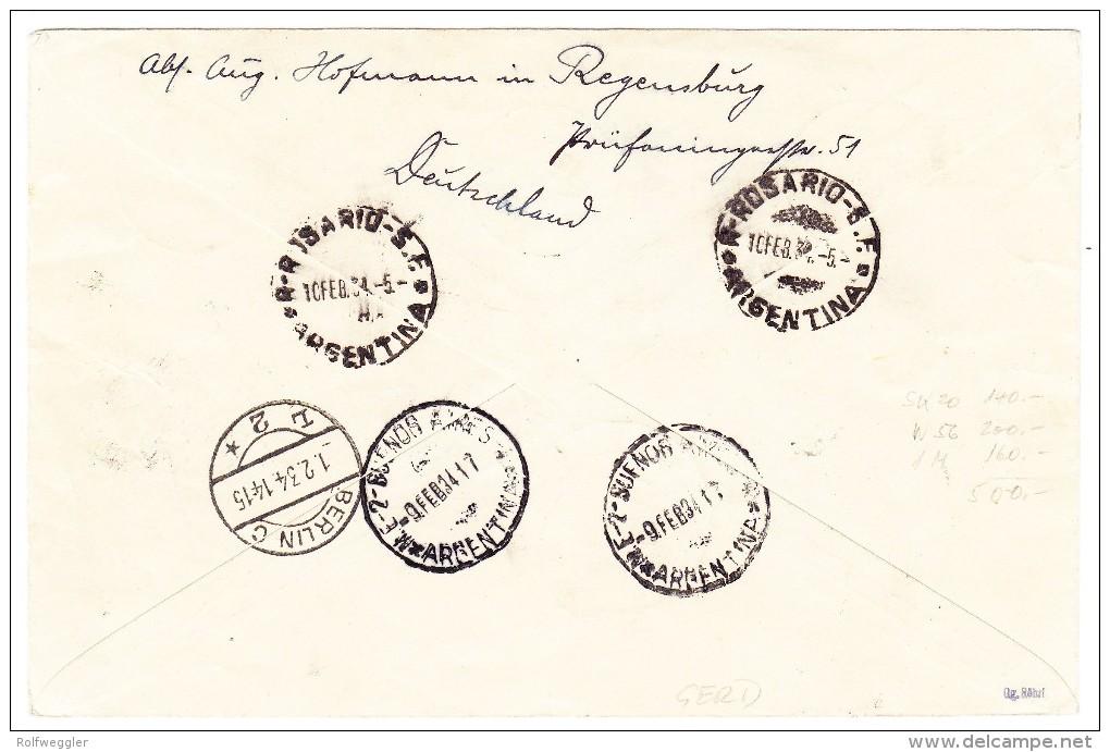 DR - 1.2.1934 Berlin Erstflug Südamerika Mit HE70 R-Luftpost Brief Nach Rosario De Sta Fe Argentinien - Poste Aérienne