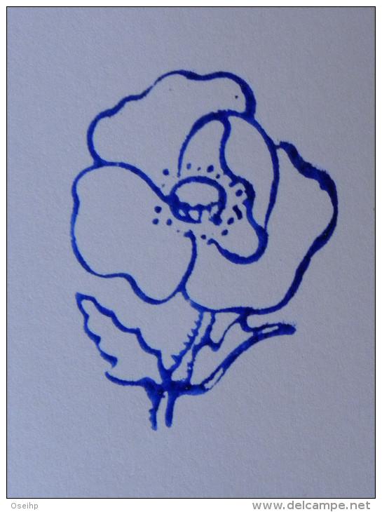 Ancien Tampon Scolaire Bois Fleur COQUELICOT Ecole French Antique Rubber Flower POPPY - Scrapbooking