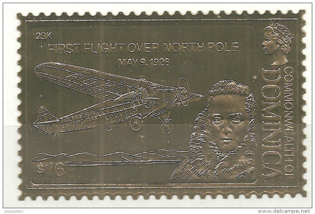 Dominique Neufs Sans Charniére ( OR ) FIRST FLIGHT OVER NORTH POLE  MAY 9, 1926 ( GOLD ) - Dominica (1978-...)