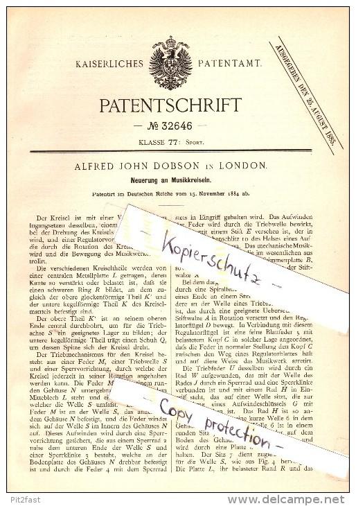 Original Patent - Alfred John Dobson In London , 1884 , Music Centrifugal , Gyroscope , Kreisel , Musikkreisel !!! - Toy Memorabilia