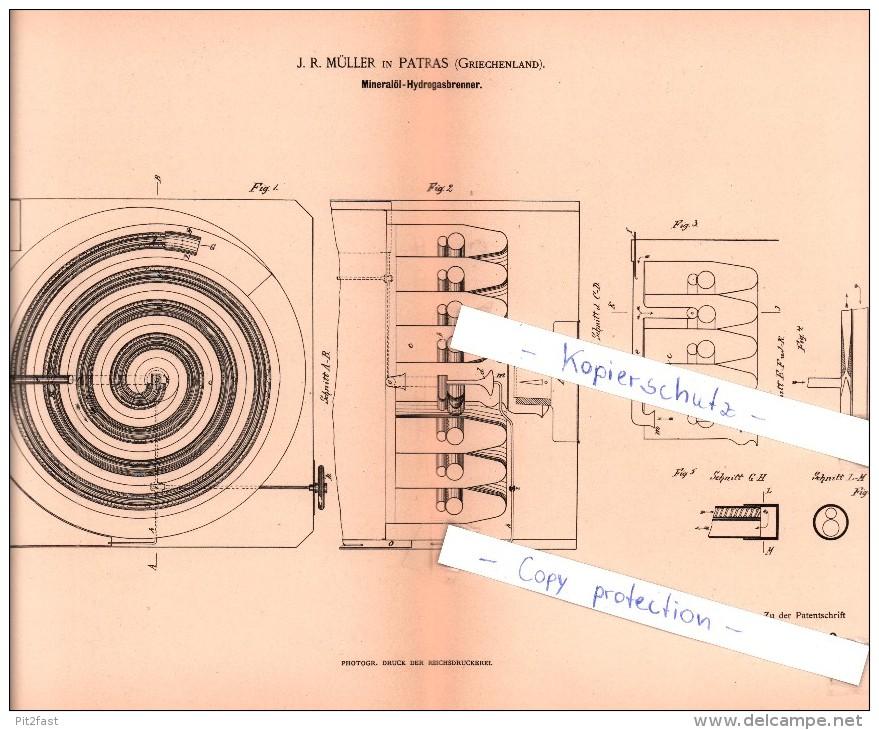 Original Patent  - J . R. Müller In Patras , Griechenland , 1886 , Mineralöl - Hydrogasbrenner !!! - Historische Dokumente