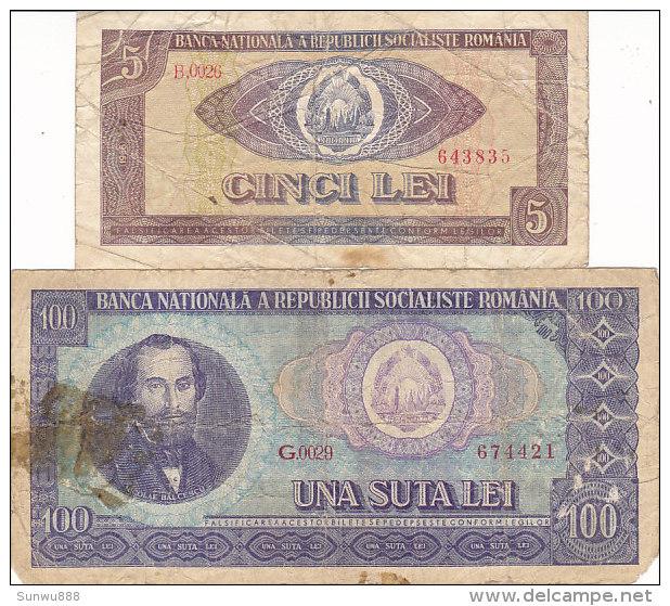 Romania - 5 & 100 Lei - Roumanie