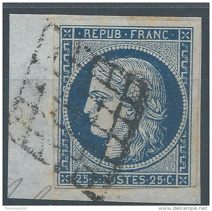 Lot N°27146   N°4a Bleu Foncé/ Fragment, Oblit GRILLE De 1849, Trois Belles Marges - 1849-1850 Ceres