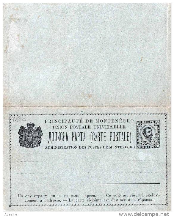 Montenegro 1893 - Ganzsache Doppelkarte Mit Je 5 Hob - Montenegro