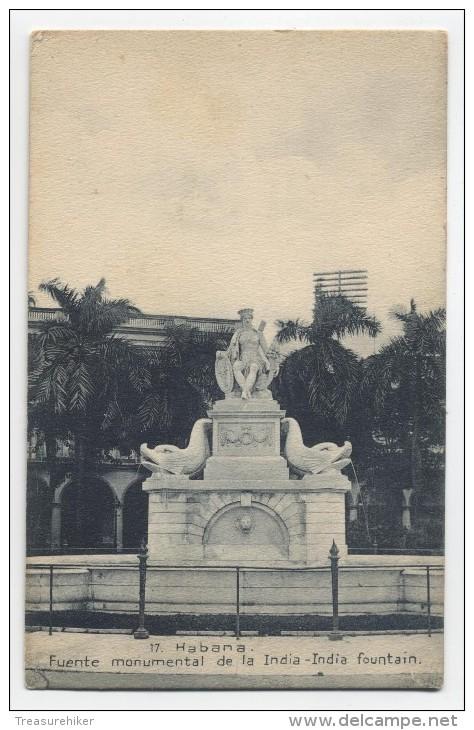 CUBA ~ Fuente Monument HABANA De La India-India Fountain 1917 Postcard - Cuba