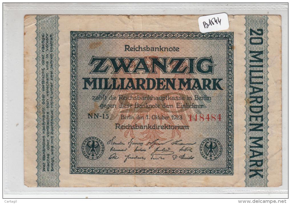 Billets -  B1544 - Allemagne - 20 Milliarden Mark 1923 ( Type, Nature, Valeur, état... Voir 2 Scans) - 20 Milliarden Mark