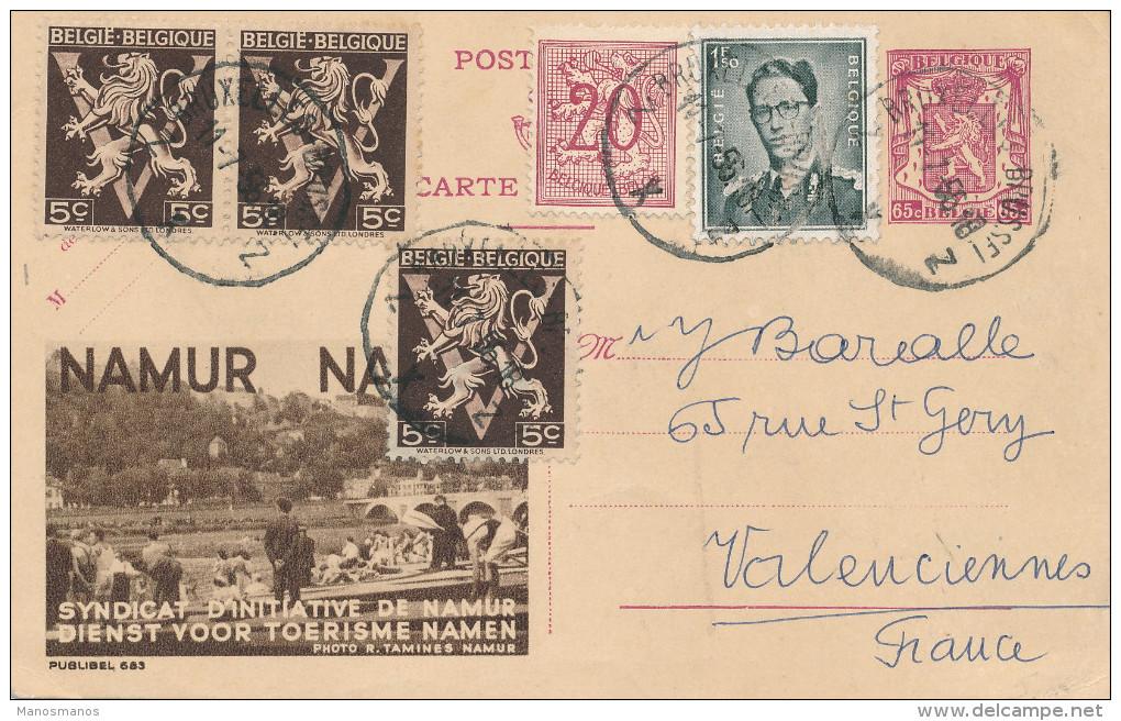 997/22 -  Entier Postal Publibel Lion Petit Sceau - TB Affranchi , Dont Lunettes Et Lion V BRUXELLES 1955 Vers La France - Stamped Stationery