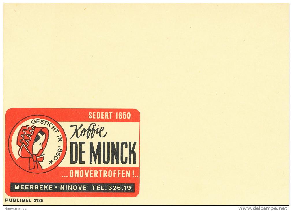 998/22 -  Entier Postal Publibel 2186 Neuf - Koffie De Munck MEERBEKE NINOVE - SPECIMEN Sans Impression Du Timbre - Enteros Postales
