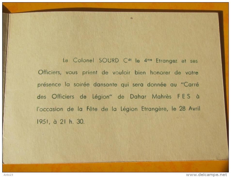 Carte Invitation Camerone 1951 Colonel Sourd Carré Des Officiers Dahar Mahrès Fes 4 Eme Etranger - Documents