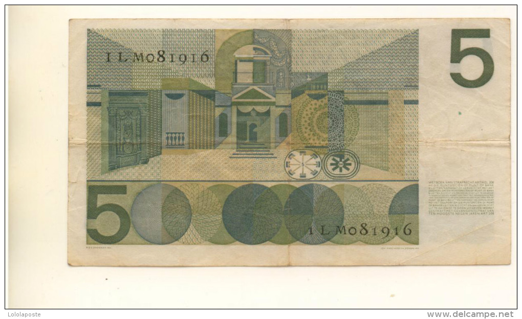 PAYS-BAS - Billet De 5 Gulden De 1966 Ayant Circulé - 5 Florín Holandés (gulden)