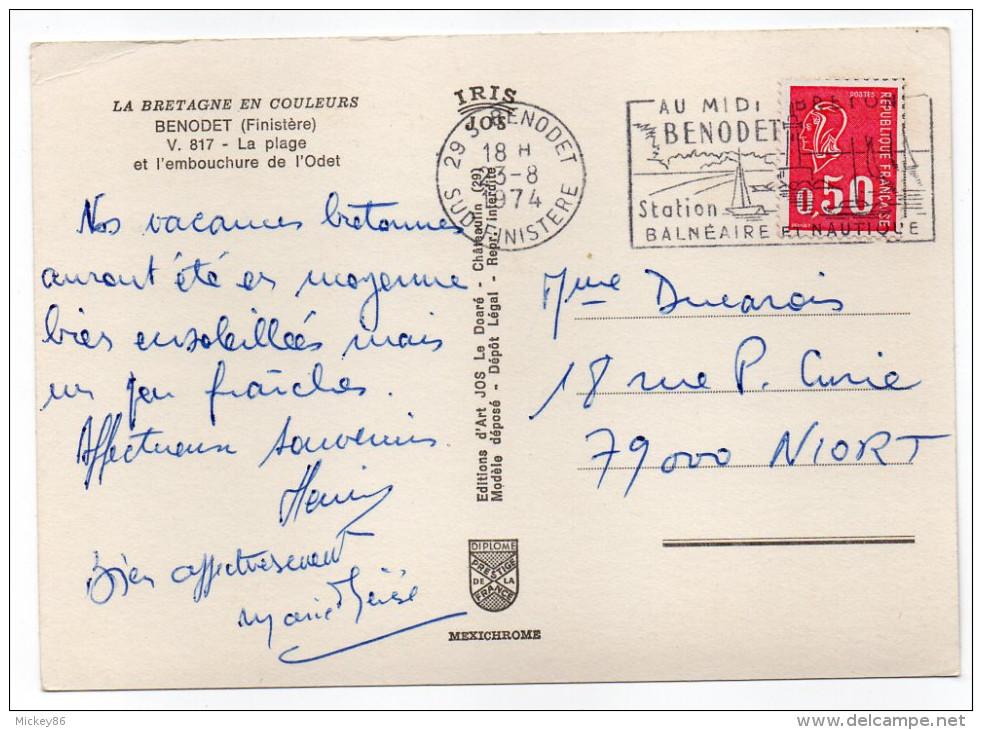 BENODET--1974--Vue Aérienne--La Plage Et L´embouchure De L´Odet (camping),cpsm 15 X 10 N° 817 éd Jos - Bénodet