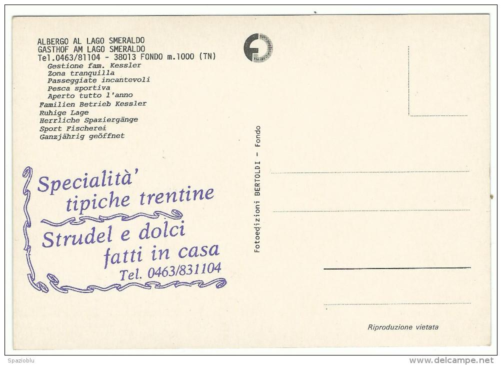 "Trento, Fondo  - ""Albergo Al Lago Smeraldo"" - Alberghi & Ristoranti"