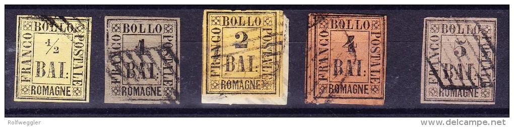 Romagna - Lot Von 5 Marken 1/2, 1, 2, 4 U 5 Bal Gestempelt Mi.# 1, 2, 3, 5 U 6. - Romagne