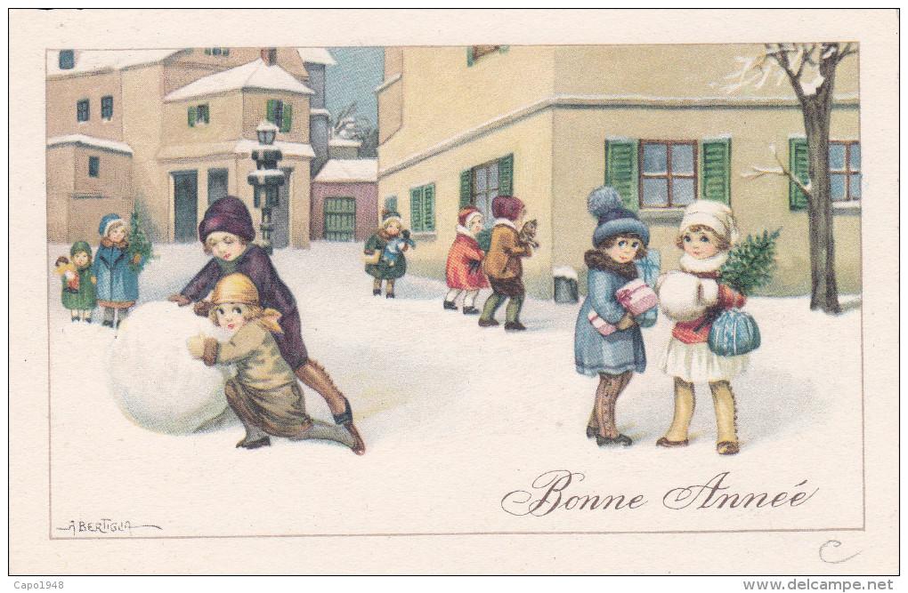CARD BERTIGLIA BUON ANNO BIMBI GIOCATTOLI GROSSA PALLA DI NEVE-FP-N-2- 0882-22259 - Bertiglia, A.