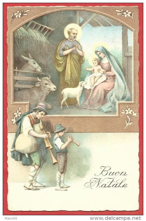CARTOLINA VG ITALIA - BUON NATALE - Natività - Zampognari - Bue E Asinello - 9 X 14 - ANNULLO 1930 MILANO - Natale