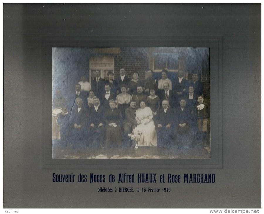 BIERCEE : RARE SUPERBE PHOTO - Noces HUAUX - MARCHAND - 1919 - Voir Descriptif - Thuin