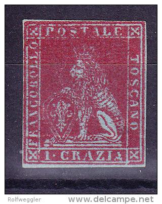 Toskana 1851 Mi.#4x (*) Ohne Gummi 1 Crazia Karminrot Signiert - Toscane