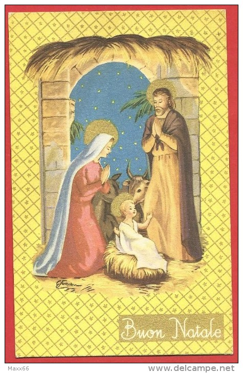 CARTOLINA VG ITALIA - BUON NATALE - Natività - Sacra Famiglia - 9 X 14 - ANNULLO TARGHETTA FIRENZE 1960 - Natale