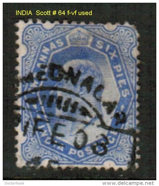 INDIA    Scott  # 64 F-VF USED - India (...-1947)