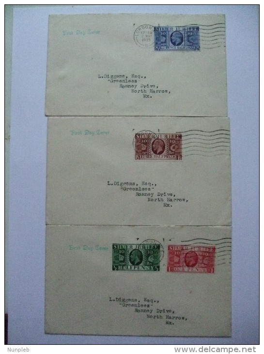 GB GEORGE V SILVER JUBILEE SET OF 3 FIRST DAY COVERS - Covers & Documents