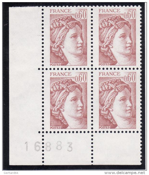 France 1981 - N° 2119b (2119 B) Gomme Tropicale (bloc De 4 - Coin Numéroté) Neufs** Sans Charnière - Unused Stamps