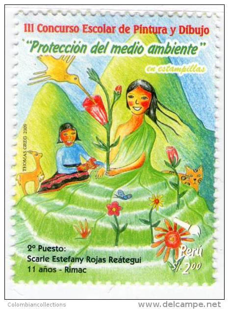 Lote P2009-11, Peru, 2009, Sello, Stamp, 2 V, III Concurso De Dibujo Y Pintura, Pintura Infantil, School Child Painting - Peru