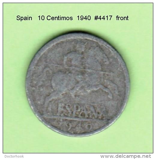 SPAIN   10  CENTIMOS   1940  (KM # 766) - 10 Centimos