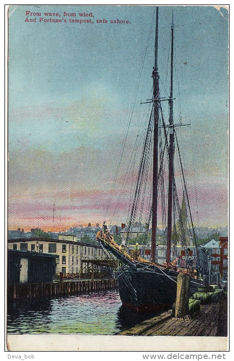 Edwardian Postcard Schooner Sailing Boat Harbour Port From Wave Wind Safe Ashore - Voiliers