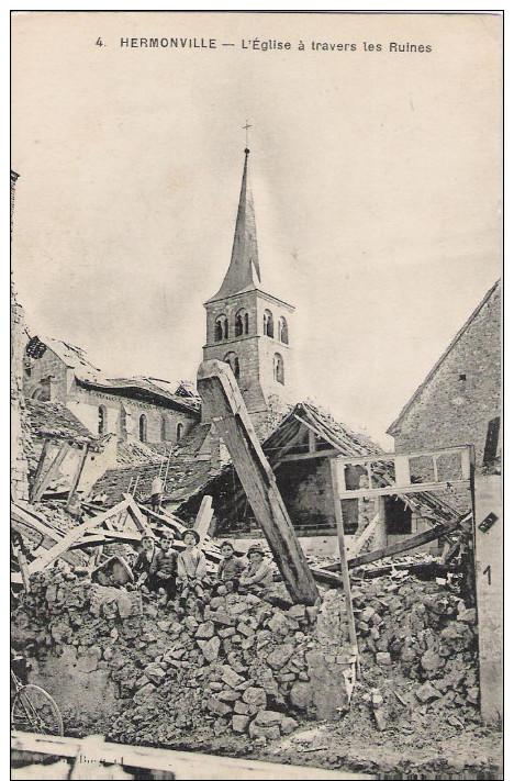 51 - HERMONVILLE - L´église à Travers Les Ruines (avec Enfants) - France