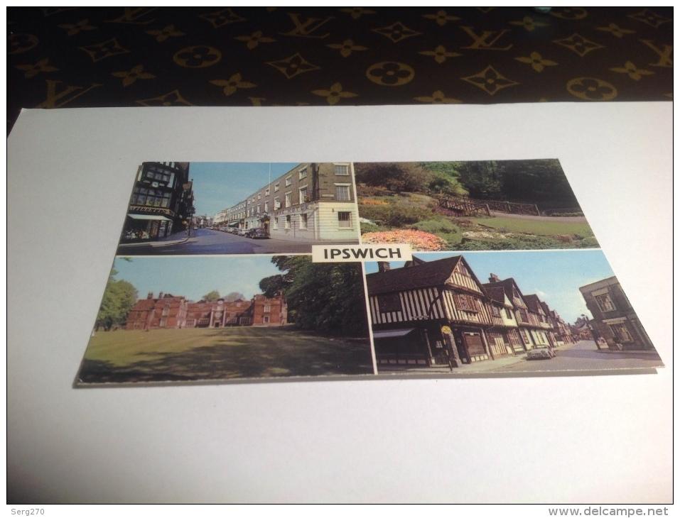 Cp, Angleterre, Ipswich, Multi-Vues, écrite 1980 Magasin Commerce Voiture Ancienne Vielle Voiture - Non Classés