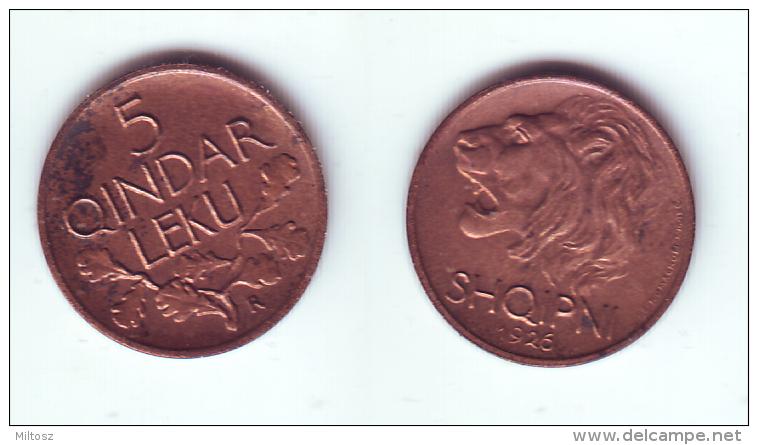 Albania 5 Qindar Leku 1926 R - Albania