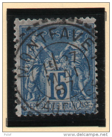 MONTFAVET ( Vse) T.Beau Cachet Perlé Sur Type Sage 15 C Bleu (Détaché) (Indice 16)  (73698) - 1876-1898 Sage (Type II)