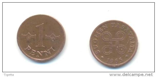 FINLANDIA  1 PENNI  ANNO 1965 - Finlandia