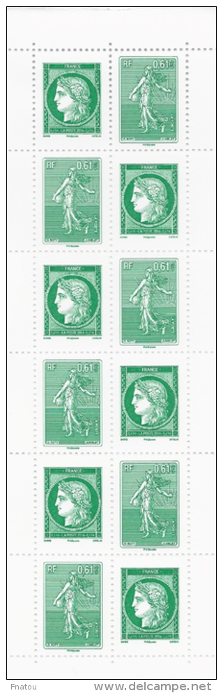 France, Green Letter, 3rd Anniversary, 2014, MNH VF, Booklet Of 14 - Commemoratives