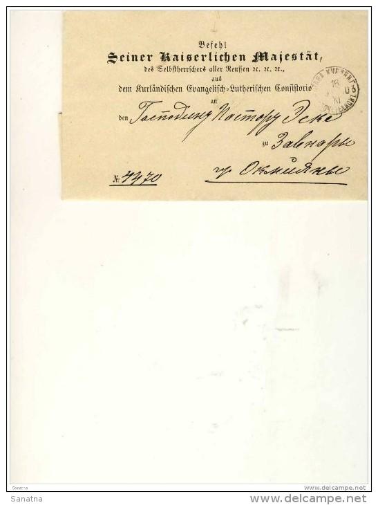 Okmeany  Mitau  Kurlendischen Evangelisch Luteranischen Konsistorio - 1857-1916 Imperium