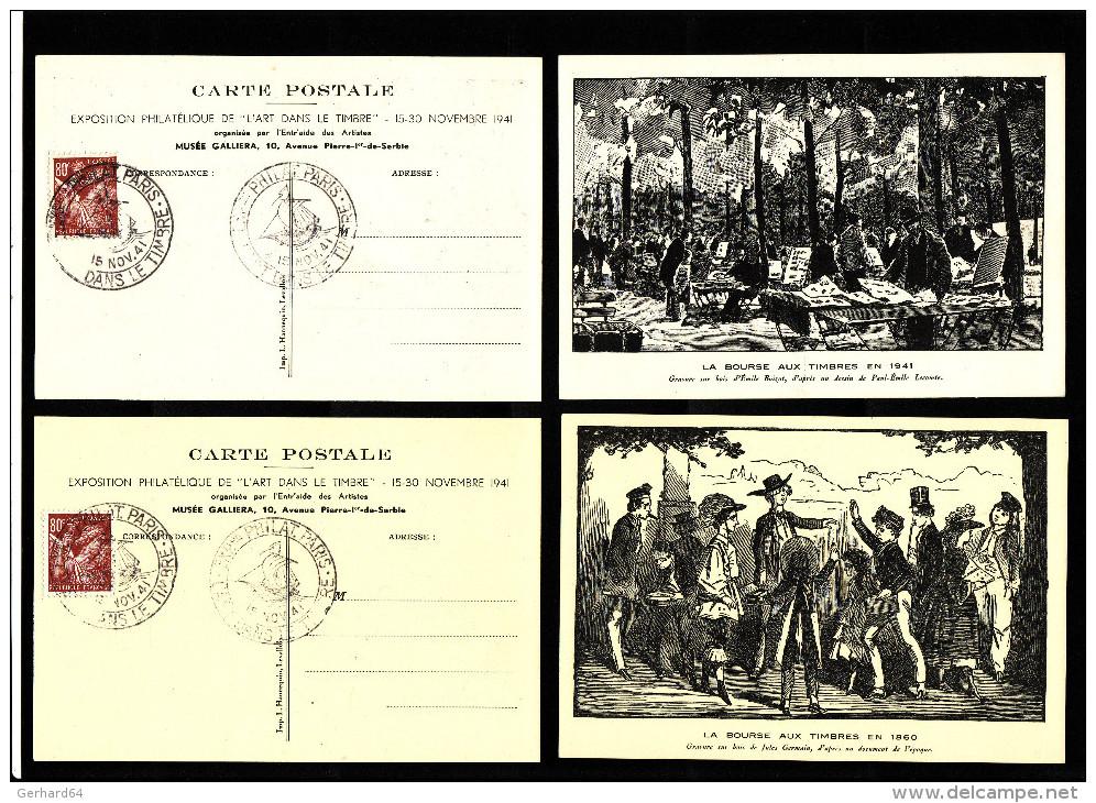 """2 Cartes Postales """"La Bourse Aux Timbres En 1860 Et 1941"""" - Paris 15 Nov 1941 - TTB (Lot LF 20) - 1921-1960: Modern Period"""