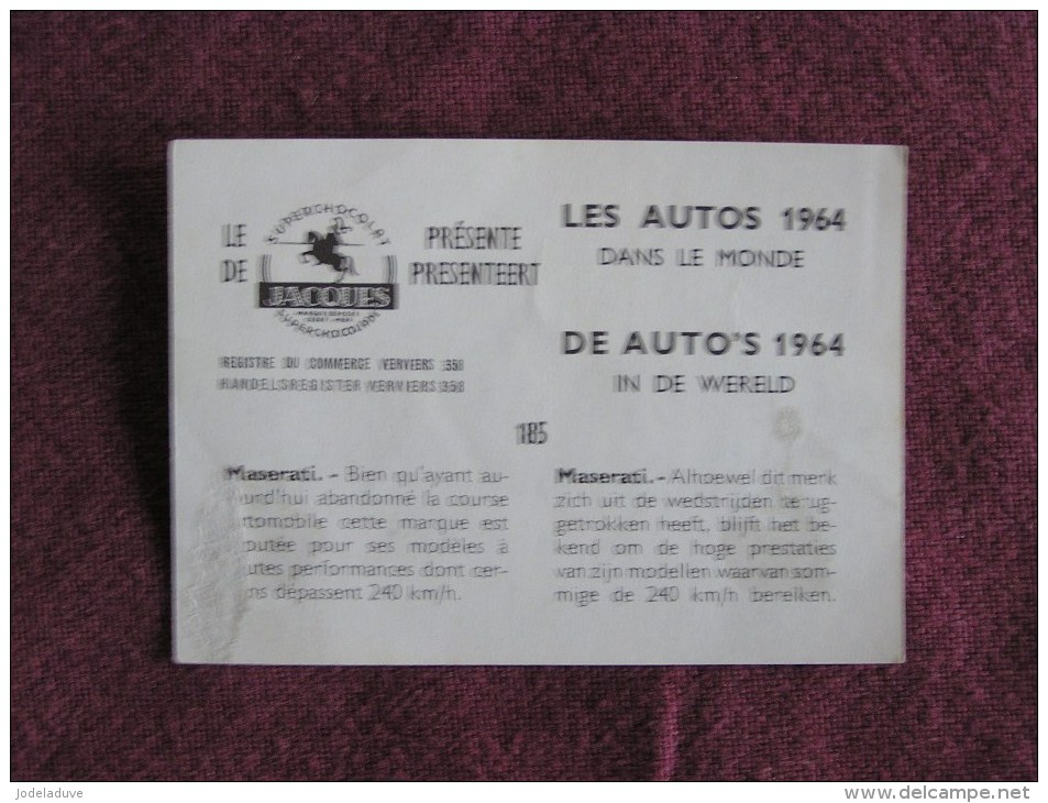 MASERATI  Chromo Auto 1964 Chocolat Jacques Eupen Automobile Trading Card Chromos Vignette - Jacques