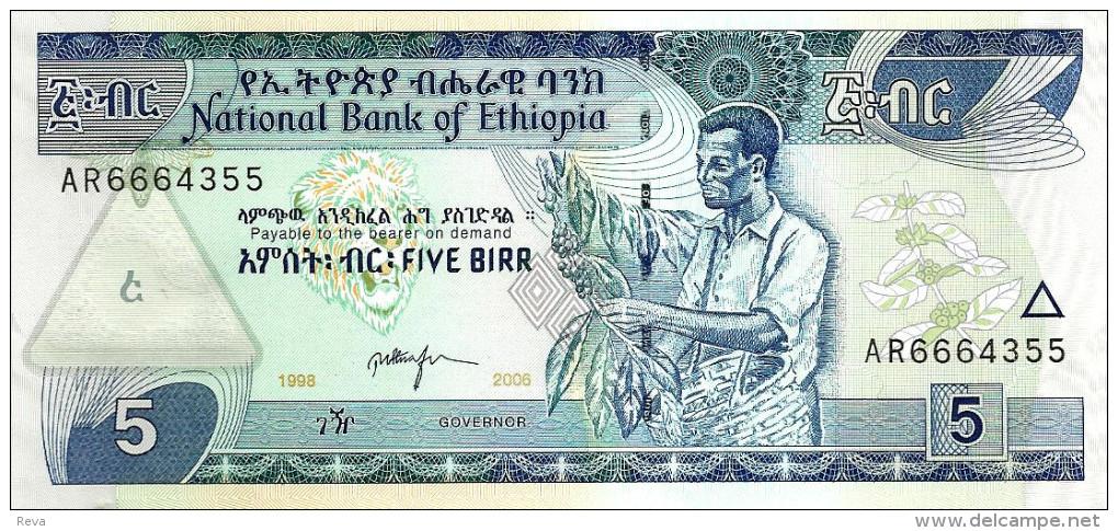 ETHIOPIA 5 BIRR BLUE MAN FRONT ANIMAL BACK SIGN6 DATED EE1998-CE2006 P47d UNC READ DESCRIPTION !! - Ethiopie