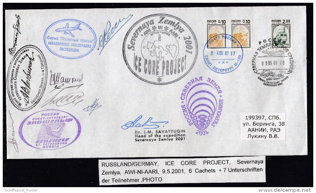 ARCTIC,GERMANY/RUSSIA, 9.5.2001 Ice Core  Project,6 Cachets + 7 Signatures, RARE , Look Scan !!  1.12-01 - Antarctische Expedities