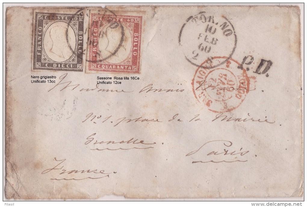 SI53D Italia Italy Sardegna Busta Da Torino A Parigi 10 C.nero Grigio 40 C. Rosa Lilla 10 Feb 1860 Con Annullo Di Arrivo - Sardegna