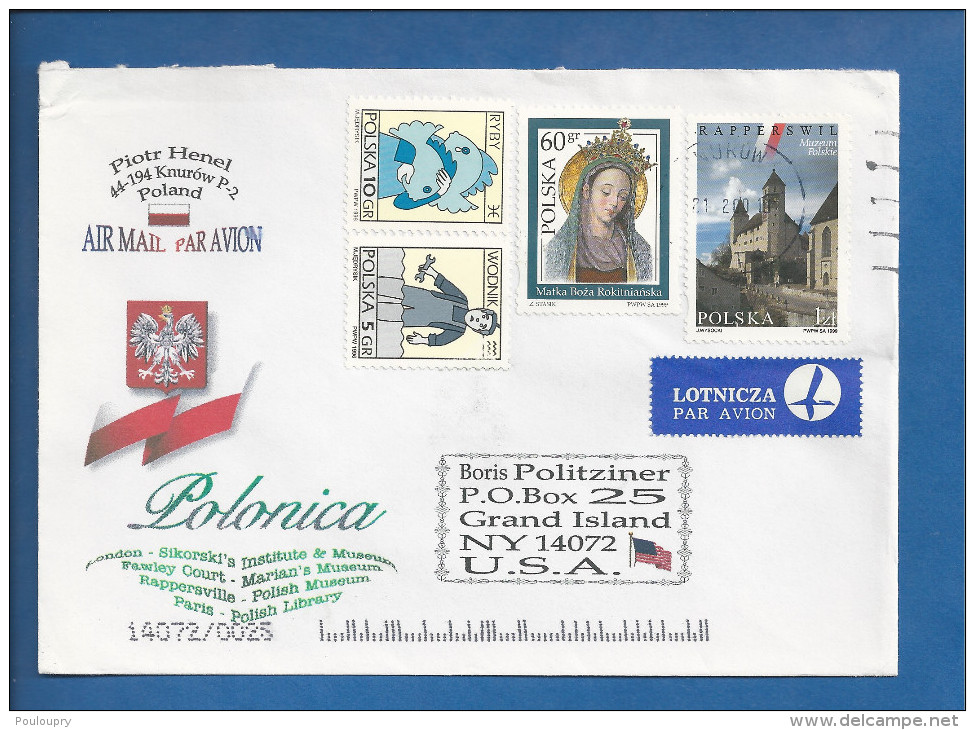 Lettre De Pologne Pour Les USA De 2000 - YT N° 3556, 3373, 3374 Et 3577 - Musée - Zodiaque - Poisson - Verseau - Vierge - 1944-.... République
